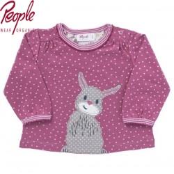 People Wear Organic - Bio Baby Langarmshirt mit Hasen-Applikation und Punkten