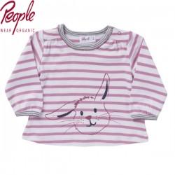 People Wear Organic - Bio Baby Langarmshirt mit Hasen-Druck und Streifen