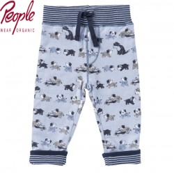 People Wear Organic - Bio Baby Wende Sweathose mit Hunde-Allover und Streifen