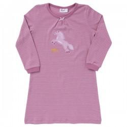 People Wear Organic - Bio Kinder Nachthemd mit Streifen und Pferde-Motiv
