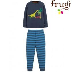 "frugi - Bio Kinder Schlafanzug ""Navigator Long John"" mit Dino-Motiv"