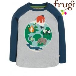 """frugi - Bio Kinder Langarmshirt """"Alfie"""" mit Weltkugel-Motiv"""