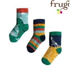 """frugi - Kinder Strümpfe 3er-Pack """"Rock my Socks"""" Dinos und Streifen"""