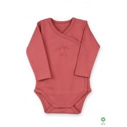 ORGANIC by Feldman - Bio Baby Wickelbody langarm mit Schutzengel-Motiv, masala