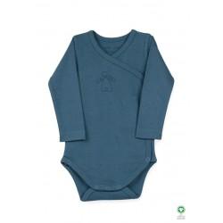 ORGANIC by Feldman - Bio Baby Wickelbody langarm mit Schutzengel-Motiv, petrol