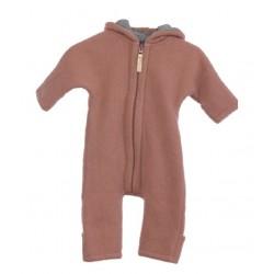 "Kitz Heimat - Bio Baby Fleece Overall ""Lou"" mit Kapuze, Wolle, rose"