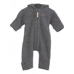 "Kitz Heimat - Bio Baby Fleece Overall ""Lou"" mit Kapuze, Wolle, grau"