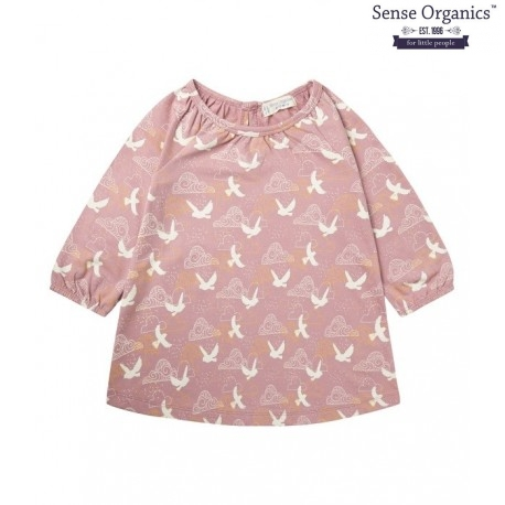 "Sense Organics - Bio Kinder Sweat Kleid ""Kanti"" mit Vogel-Motiv"