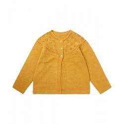 """Sense Organics - Bio Kinder Strickjacke """"Hurit"""" mit Ajour-Muster, mustard"""