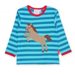 Toby tiger - Bio Baby Langarmshirt mit Pferde-Motiv und Streifen