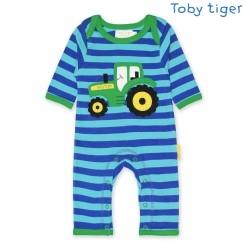 Toby tiger - Bio Baby Strampler mit Traktor-Motiv und Streifen