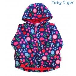 Toby tiger - Kinder Winterjacke mit Blumen und Igel-Motiv, wattiert