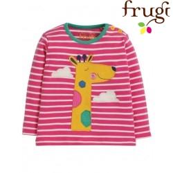 """frugi - Bio Baby Langarmshirt """"Button"""" mit Giraffen-Motiv und Streifen"""