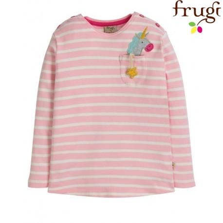 """frugi - Bio Kinder Langarmshirt """"Louise"""" mit Einhorn-Motiv und Streifen"""