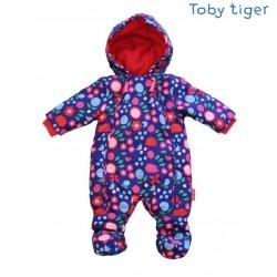 Toby tiger - Baby Schneeoverall mit Blumen und Igel-Motiv, wattiert