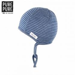 pure pure by BAUER - Bio Baby Erstlingsmütze mit Streifen, Wolle/Seide, blau
