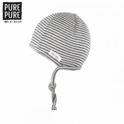 pure pure by BAUER - Bio Baby Erstlingsmütze mit Streifen, Wolle/Seide, grau