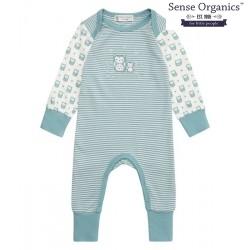 """Sense Organics - Bio Baby Strampler langarm """"Wayan"""" mit Eulen-Motiv, blau"""