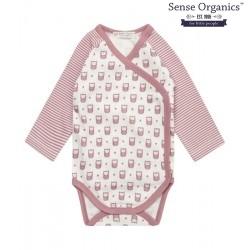 "Sense Organics - Bio Baby Wickelbody langarm ""Ygon"" mit Eulen-Motiv, mauve"
