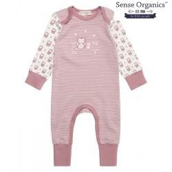 """Sense Organics - Bio Baby Strampler langarm """"Wayan"""" mit Eulen-Motiv, mauve"""