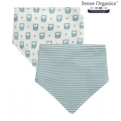 """Sense Organics - Bio Baby Wende Tuch """"Bib"""" mit Eulen-Motiv und Streifen, blau"""