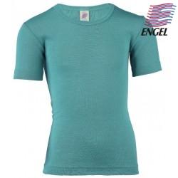 ENGEL - Bio Kinder Unterhemd kurzarm, Wolle/Seide, eisvogel