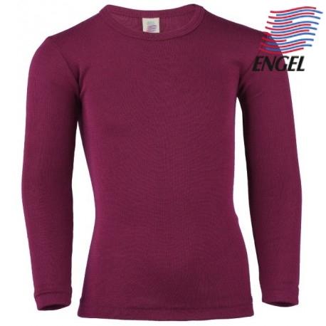 ENGEL - Bio Kinder Unterhemd langarm, Wolle/Seide, orchidee