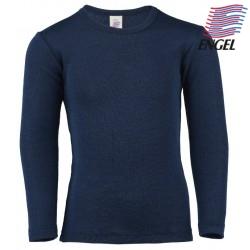 ENGEL - Bio Kinder Unterhemd langarm, Wolle/Seide, marine