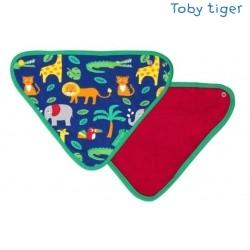 Toby tiger - Bio Baby Tuch mit Dschungel-Allover und Fleece-Rückseite