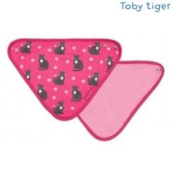 Toby tiger - Bio Baby Tuch mit Katzen-Allover und Fleece-Rückseite