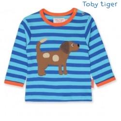 Toby tiger - Bio Baby Langarmshirt mit Hunde-Motiv und Streifen