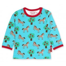 Toby tiger - Bio Baby Langarmshirt mit Pferde-Allover