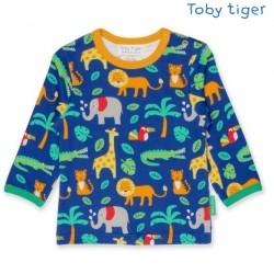 Toby tiger - Bio Kinder Langarmshirt mit Dschungel-Allover