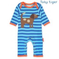 Toby tiger - Bio Baby Strampler mit Hunde-Motiv und Streifen