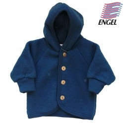 ENGEL - Bio Baby Fleece Jacke mit Kapuze, Wolle, ocean