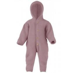 ENGEL - Bio Baby Fleece Overall mit Kapuze, Wolle, rosenrot