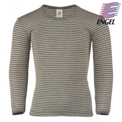 ENGEL - Kinder Langarmshirt gestreift, Wolle/Seide, walnuss