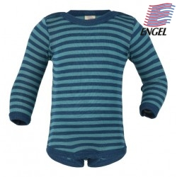 ENGEL - Bio Baby Body langarm gestreift, Wolle/Seide, light ocean/eisvogel