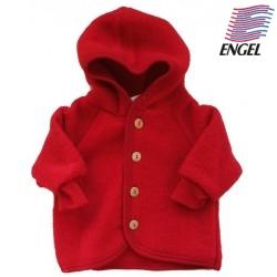ENGEL - Bio Baby Fleece Jacke mit Kapuze, Wolle, rot