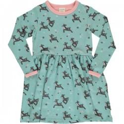 Maxomorra - Bio Kinder Jersey Kleid mit Rentier-Motiv