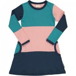 Maxomorra - Bio Kinder Jersey Kleid mit Blockstreifen