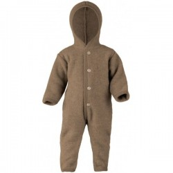 ENGEL - Bio Baby Fleece Overall mit Kapuze, Wolle, walnuss