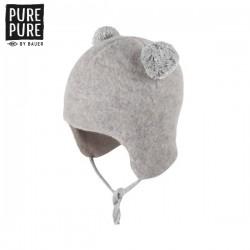 pure pure by BAUER - Bio Baby Fleece Bommelmütze, Wolle, grau