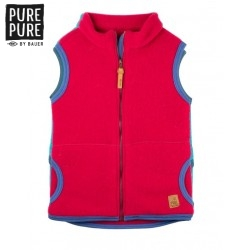 pure pure by BAUER - Bio Kinder Fleece Weste , Wolle, himbeer