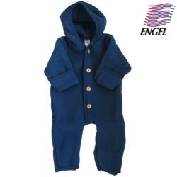 ENGEL - Bio Baby Fleece Overall mit Kapuze, Wolle, ocean