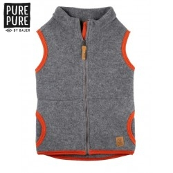 pure pure by BAUER - Bio Kinder Fleece Weste , Wolle, schiefer