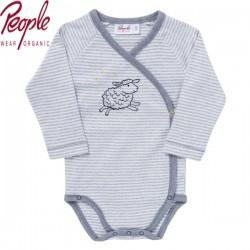 People Wear Organic - Bio Baby Wickelbody langarm mit Schaf-Motiv und Streifen
