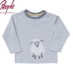 People Wear Organic - Bio Baby Langarmshirt mit Schaf-Motiv und Streifen