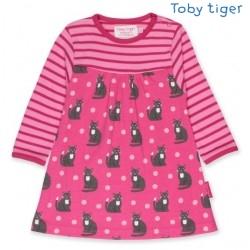 Toby tiger - Bio Kinder Kleid mit Katzen-Allover und Streifen