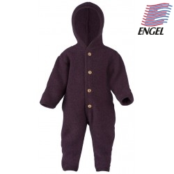 ENGEL - Bio Baby Fleece Overall mit Kapuze, Wolle, lila